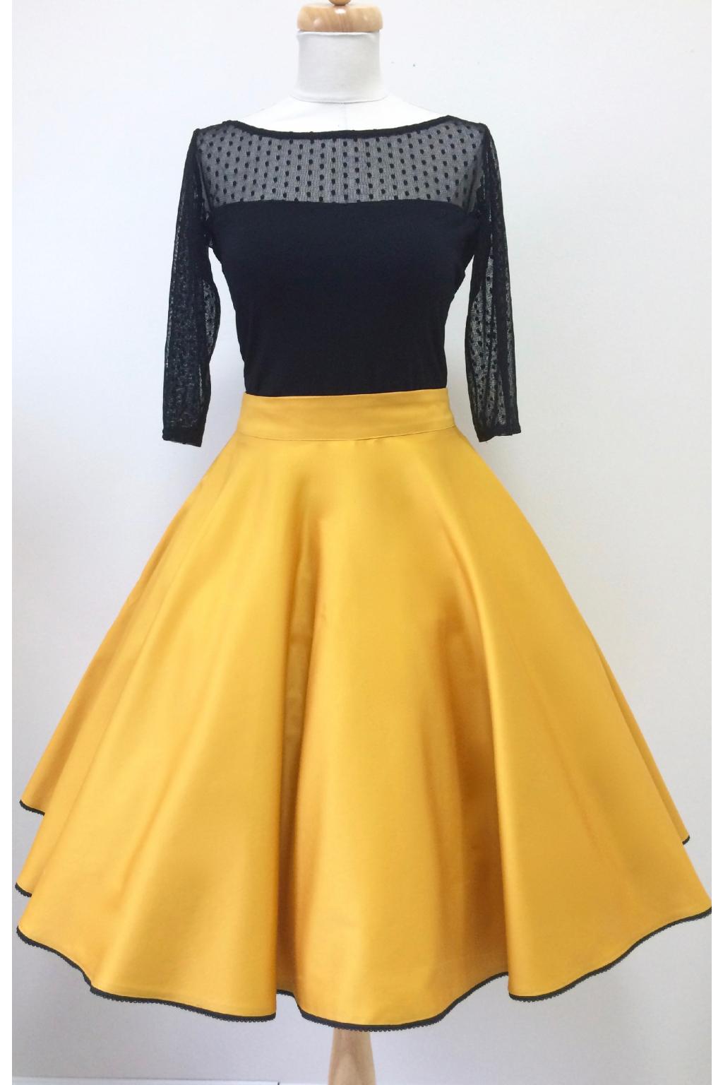 cef5a77c246c Kolová sukně hořčicová - více barev - MiaBella