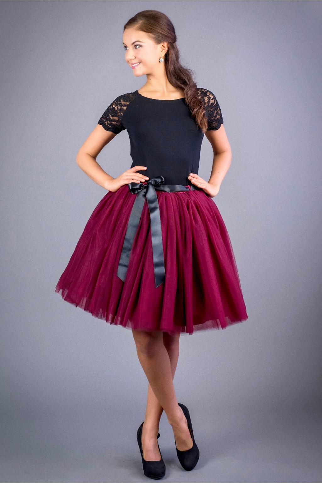 Dámská tylová TUTU sukně vínová - MiaBella 82fdae478b