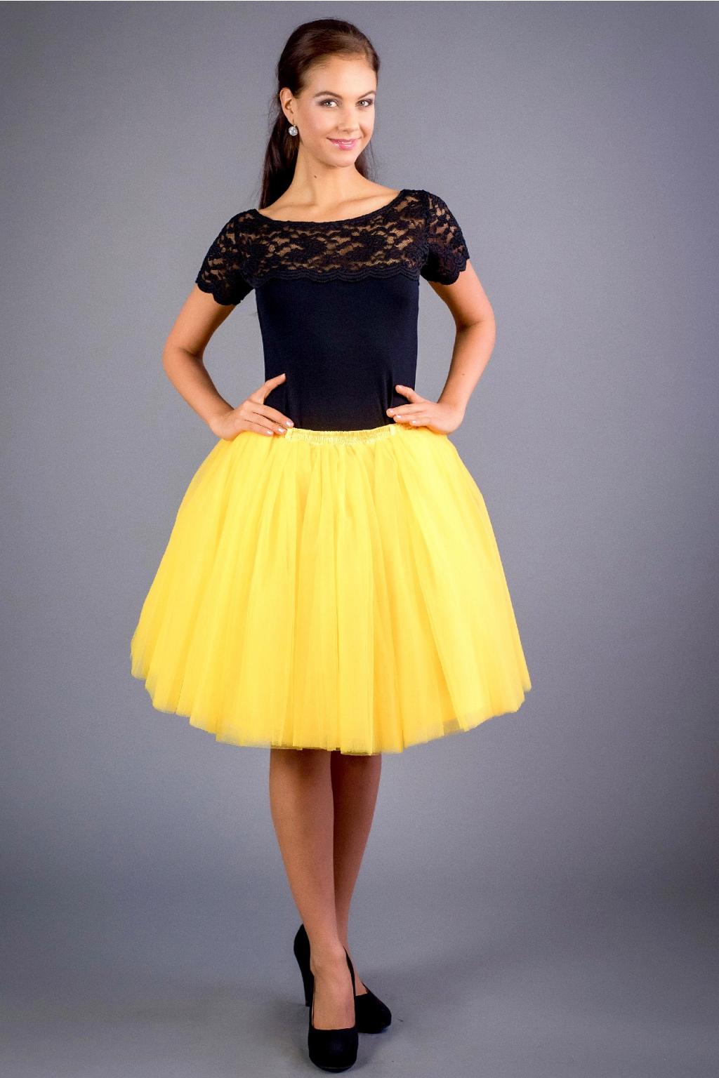 Dámská tylová TUTU sukně hořčicová - MiaBella 4113238a52
