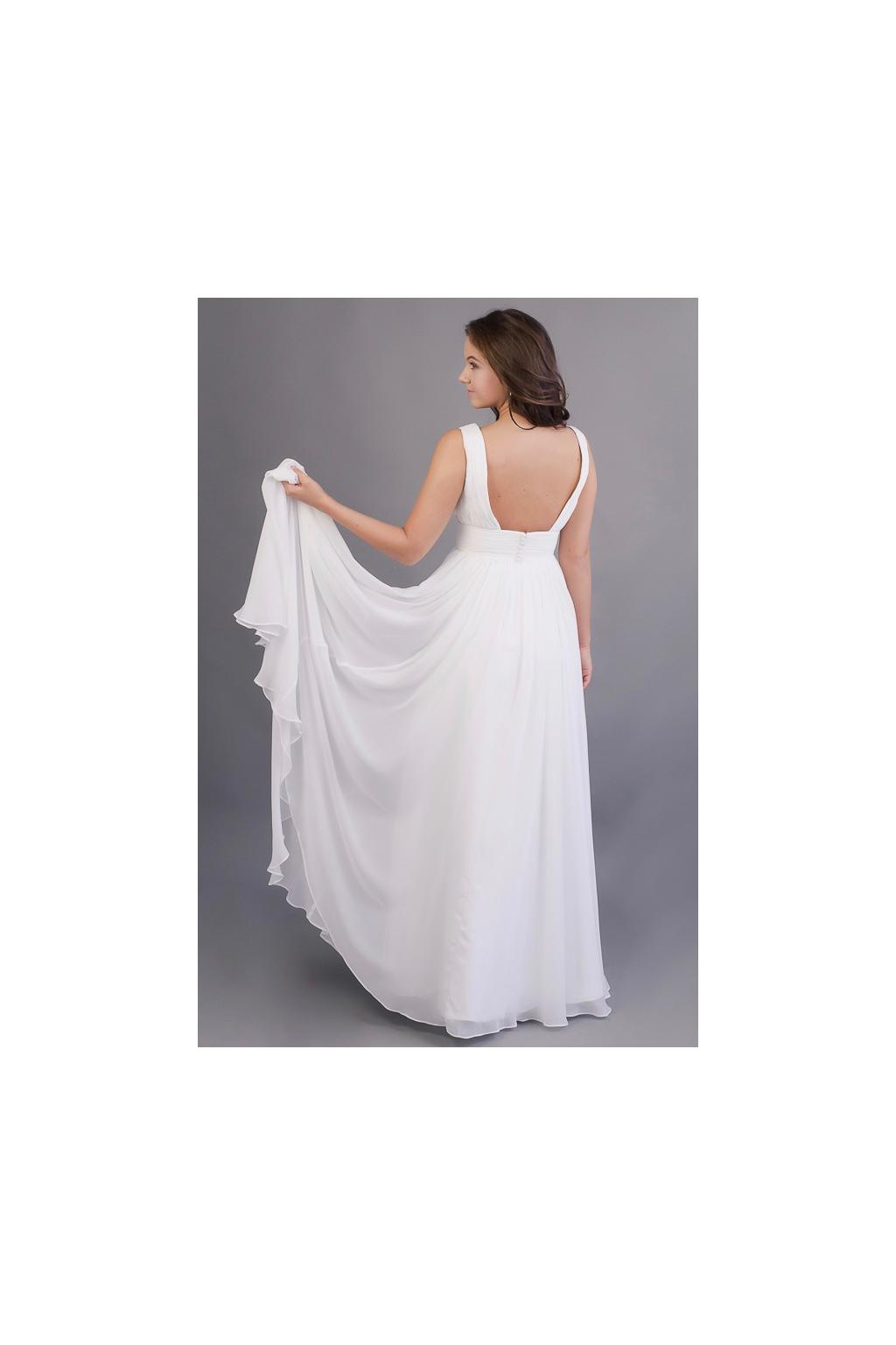 Dlouhé svatební šaty s hlubším výstřihem - MiaBella 9f90964542