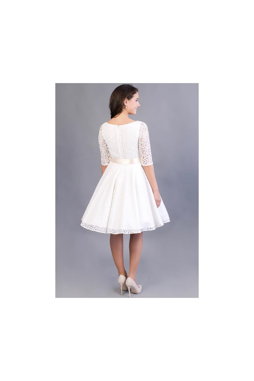 12441717e1f Celokrajkové svatební šaty ADELE s rukávy - MiaBella