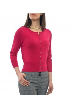 Červený svetřík s kulatým výstřihem a 3/4 rukávem - C49
