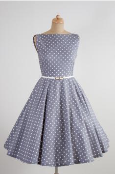 SUSAN šedé retro šaty s bílým puntíkem