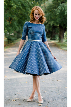 ADELE retro šaty denim s puntíkem