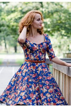 Džínové vzorované šaty na knoflíčky LORETTA
