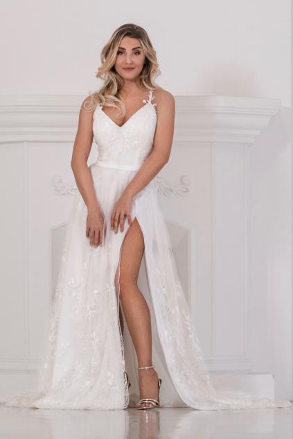 Bohémské celokrajkové svatební šaty EVA