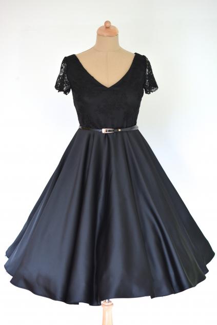 Černé retro šaty LOREN s krajkou, vel. 38