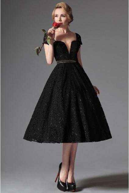 Společenské krajkové šaty v retro stylu, vel. 38