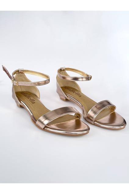 sandálky rose-gold bez podpatku