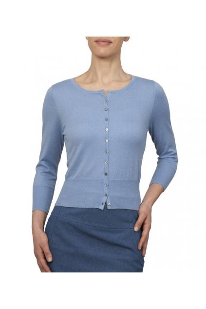 Blankytně modrý svetřík s kulatým výstřihem a 3/4 rukávem - C49