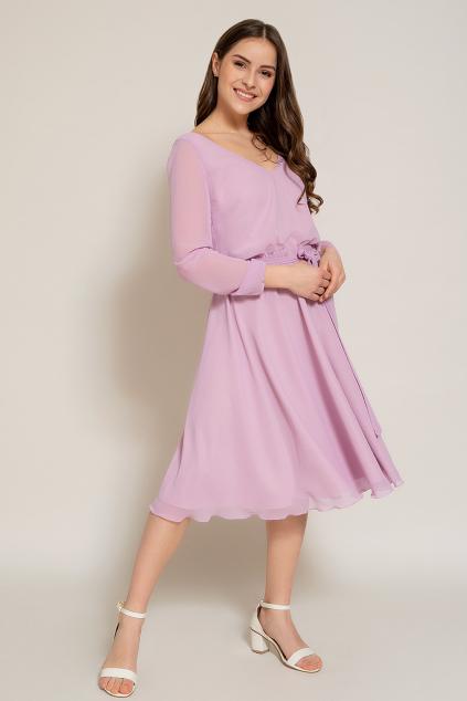Krátké šifonové šaty s dlouhými rukávy