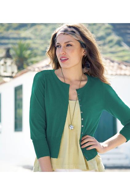 Marine green svetřík s kulatým výstřihem a 3/4 rukávem - C49
