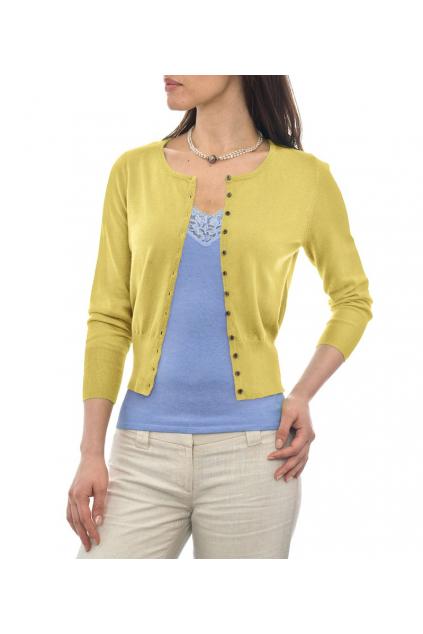 7e5e4192438 Žlutý svetřík s kulatým výstřihem a 3 4 rukávem - C49