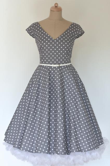 LOREN retro šaty šedé s puntíkem