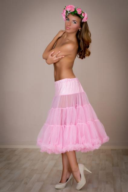 Objemová spodnička pudrová růžová dlouhá
