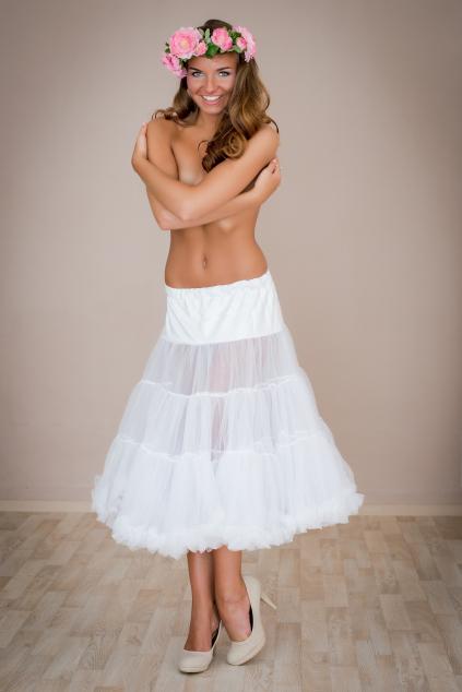 Objemová spodnička bílá dlouhá