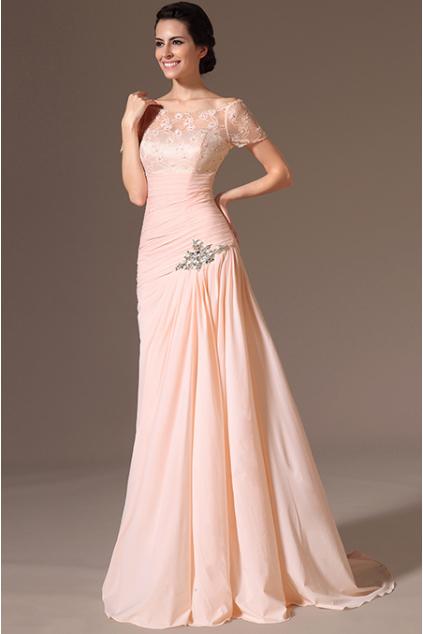 Meruňkové plesové šaty s vlečkou - vel. 40 a 42 31fc1dfa6e