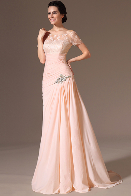 Meruňkové plesové šaty s vlečkou - vel. 40 a 42