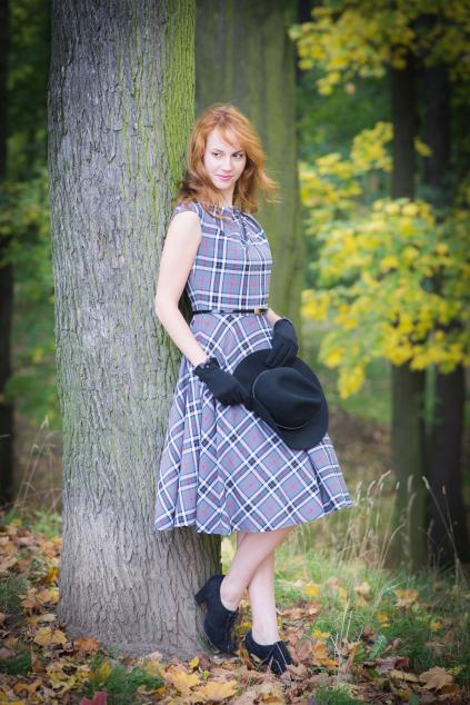 CHANTE retro šaty kostka šedá - více barev