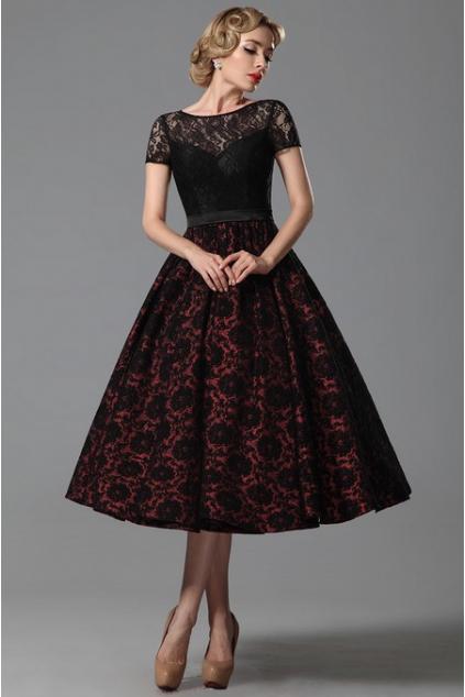 Společenské retro šaty s rukávky