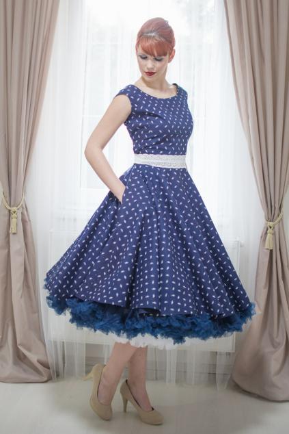 Retro šaty HELEN v modrotisku