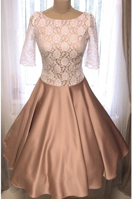 Krajkové retro šaty ADELE s rukávy
