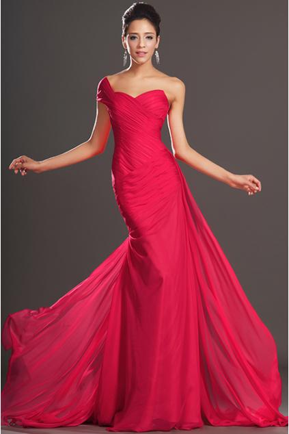 Malinové plesové šaty na jedno rameno, vel. 40