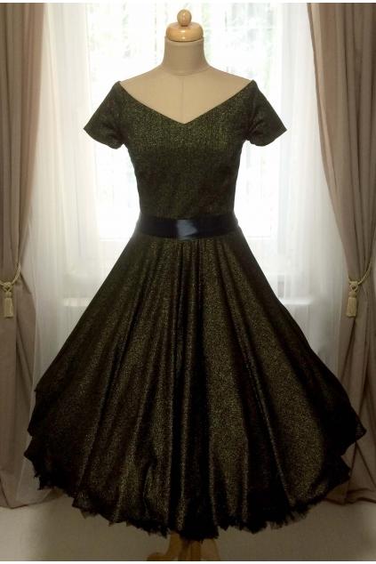 Třpytivé černo-zlaté retro šaty MILLA