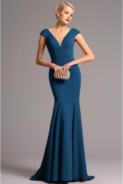 Vysoce elegantní modré plesové šaty, vel.40