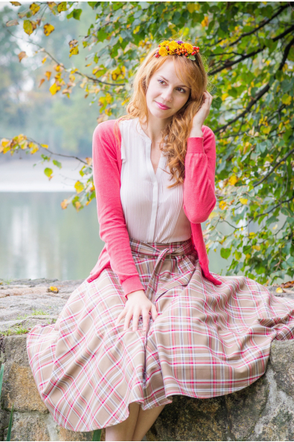 Kolová sukně skotská kostka hnědá - více barev