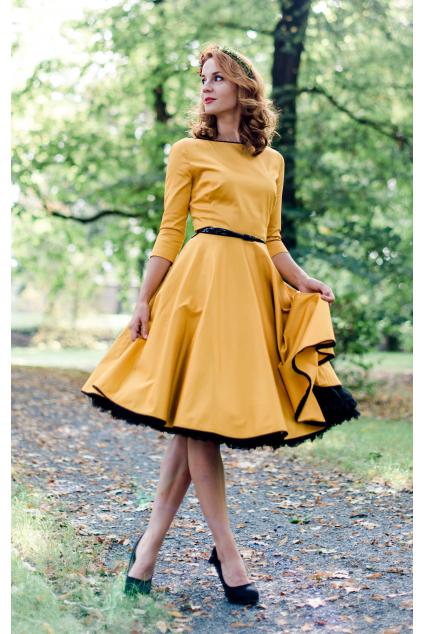 Hořčicovo-žluté šaty s rukávy - více barev