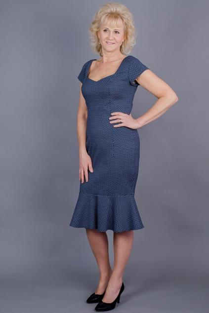 911a21f3e63 Pouzdrové šaty modré s volánem
