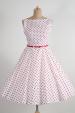 SUSAN retro šaty bílé s červeným puntíkem