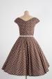 LOREN retro šaty hnědé s puntíkem