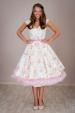 LOREN retro šaty smetanové s kytičkami