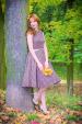 SUSAN retro šaty hnědé s bílým puntíkem