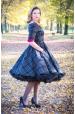 LOREN retro šaty s rukávem kostkované