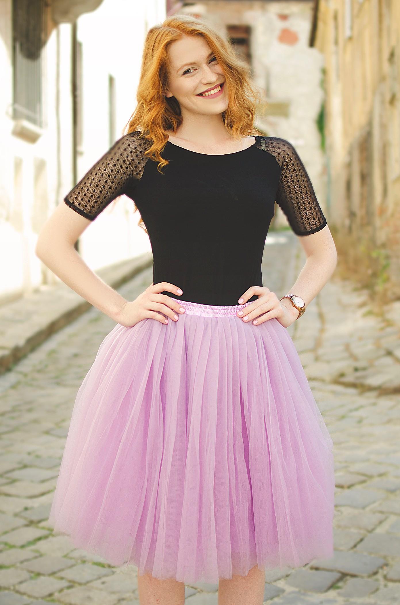 Dámská tylová TUTU sukně fialová nad kolená - 50 cm