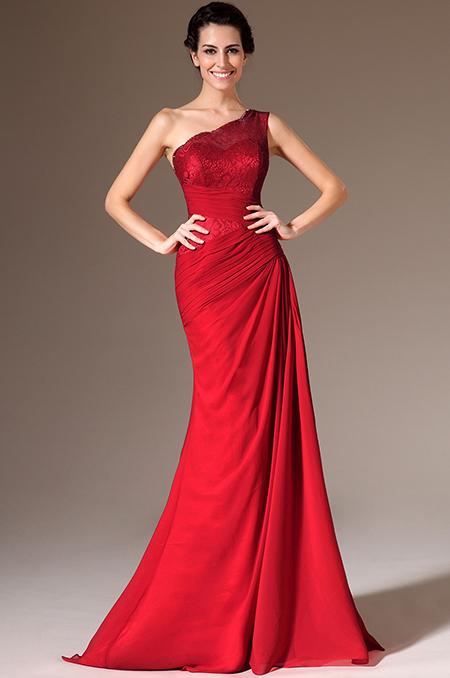 Červené společenské šaty na jedno rameno jako na obrázku, 38