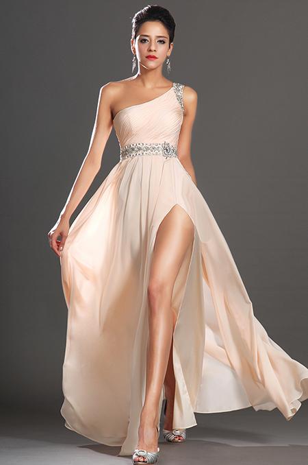 Meruňkové plesové šaty na jedno rameno jako na obrázku, 38