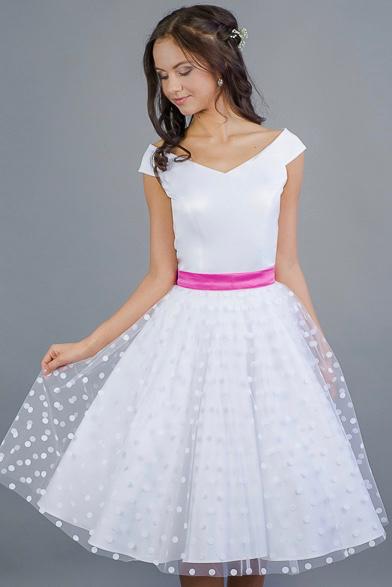 MILLA svatební retro šaty bílé s puntíky Bílý matný pevný satén, 38