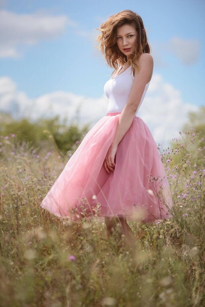 Dámská tylová TUTU sukně pudrová ružová nad kolená - 50 cm