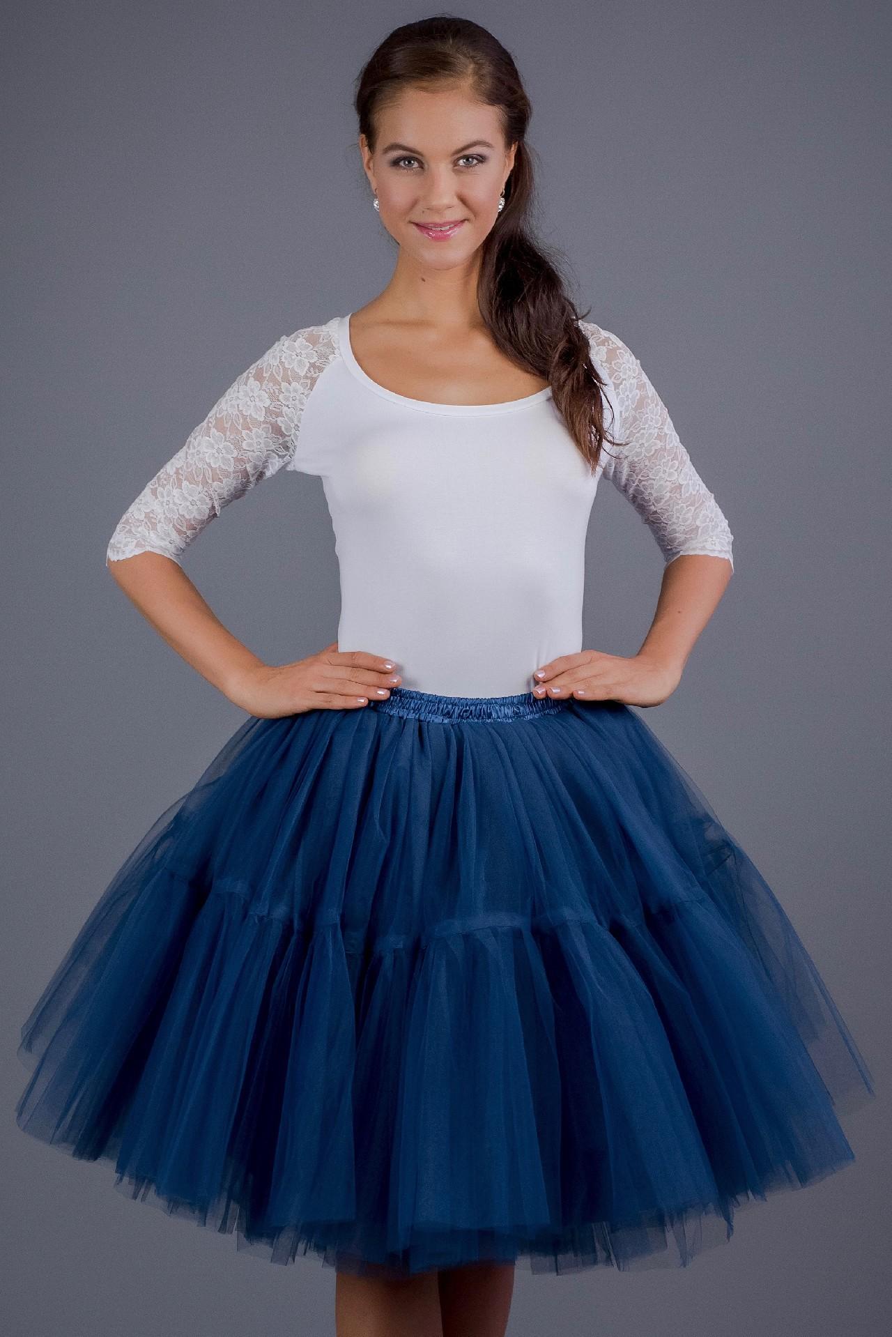 TUTU sukně s volánem - tmavě modrá