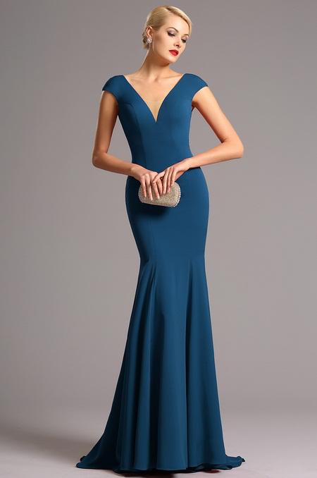 Vysoce elegantní modré plesové šaty jako na obrázku, 38
