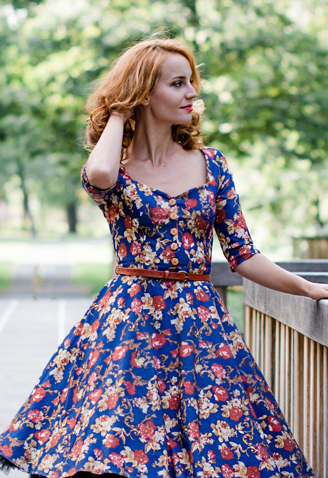 Džínové vzorované šaty na knoflíčky LORETTA Barva jako na obrázku, 40