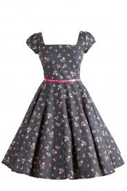 LORETTA retro šaty černé s kytičkami