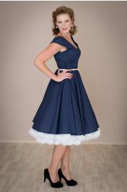 LOREN retro šaty tmavě modré s mini puntíkem
