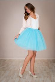 Dámská tylová TUTU sukně modrá