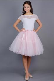 TUTU sukně s volánem - růžovo meruňková