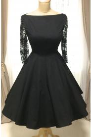 ADELE retro šaty s krajkovými rukávy